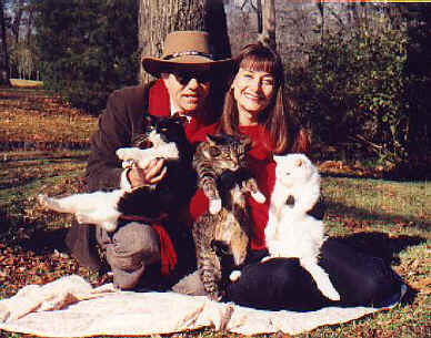 Ray & Lisa and the cats, 2002